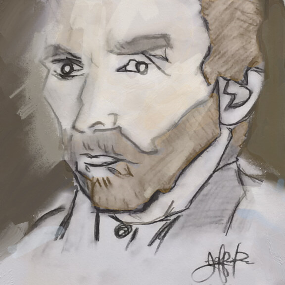 Jeffrey Pillow. Vincent Van Gogh. Charcoal and mixed media