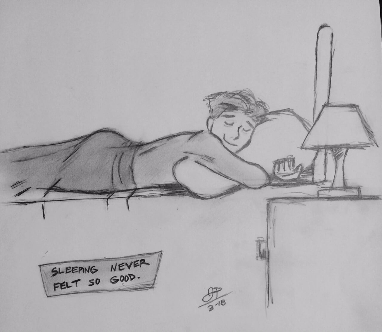 drawing of a man sleeping in his bed hugging the pillow